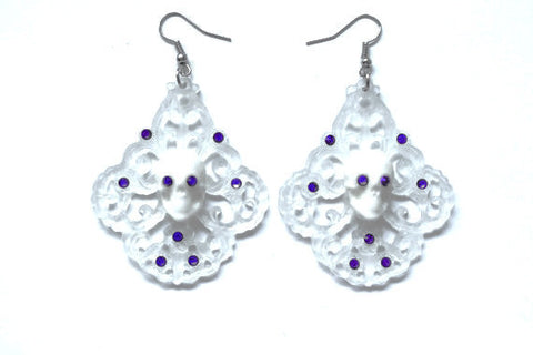 Skull Chandelier Earrings - Purple Frost
