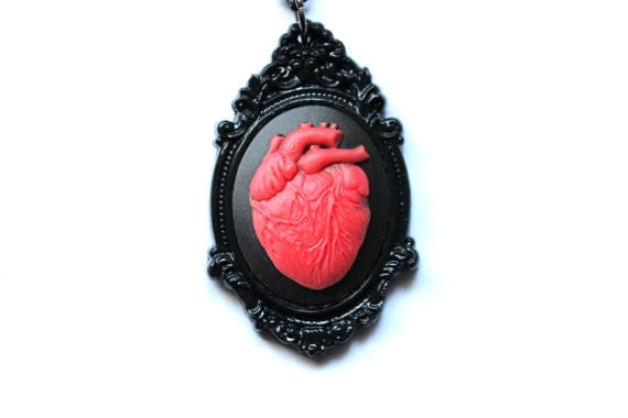 Anatomical Heart Cameo Necklace - More Colors Available