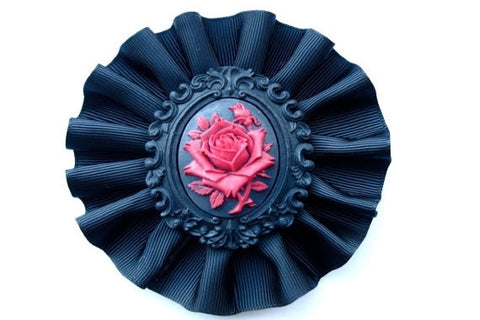 Rose Cameo Hair Fascinator and Brooch
