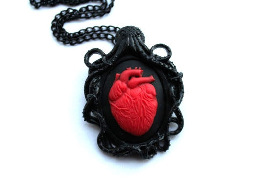 Octopus Anatomical Heart Cameo Necklace & Brooch