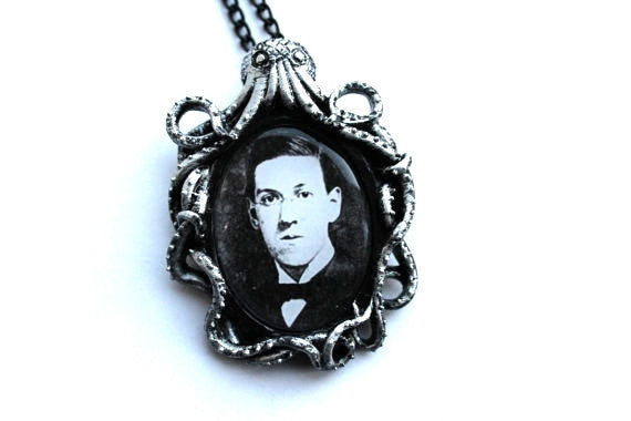 H.P. Lovecraft Cthulhu Antique Silver Cameo Necklace & Brooch