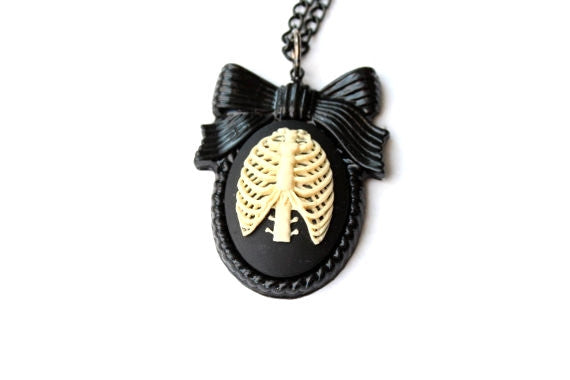 Anatomical Rib Cage Cameo Large Bow Necklace