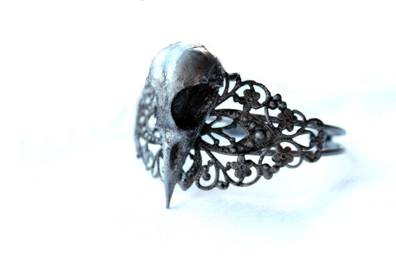 Taxidermy Bird Skull Filigree Bangle - Antique Silver
