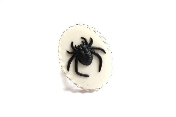 Black Spider Cameo Ring