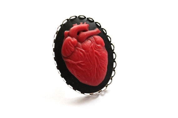Anatomical Red Heart Cameo Ring
