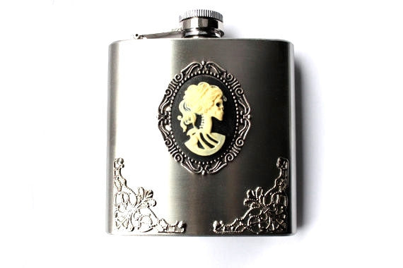 Day of the Dead Lolita Skeleton Girl Filigree Gothic Stainless Steel Flask