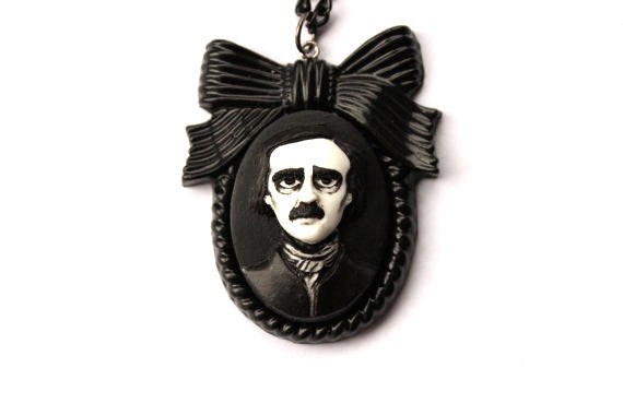 Edgar Allan Poe Large Bow Cameo Necklace