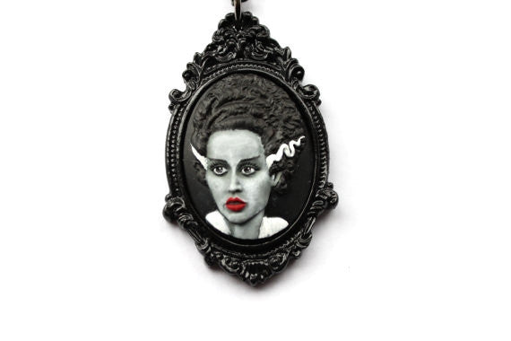 Bride of Frankenstein Cameo Necklace - Grey & Black