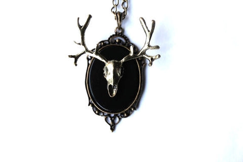 Antique Gold Taxidermy Deer Skull Mount Cameo Necklace