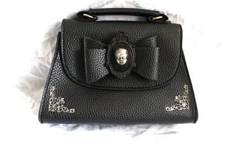 Baby Doll Head Cameo Filigree Mini Bow Handbag/Clutch