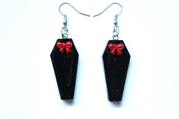 Mini Coffin Bow Earrings - More Colors Available