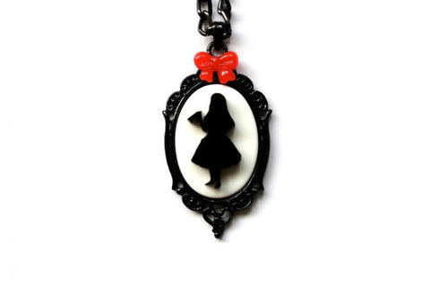 Alice in Wonderland 'Drink Me' Silhouette Mini Bow Cameo Necklace