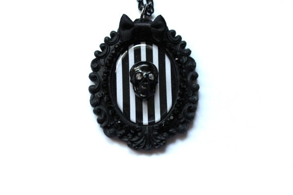 Skull Black White Striped Cameo Bow Necklace