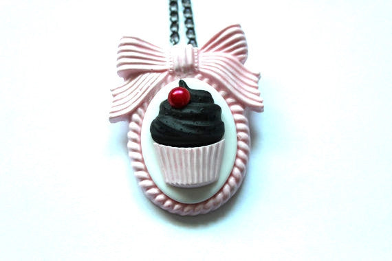 Dark Chocolate Cupcake Pink Bow Cameo Necklace & Brooch