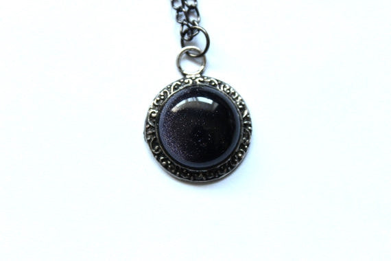 Blue Goldstone Round Necklace