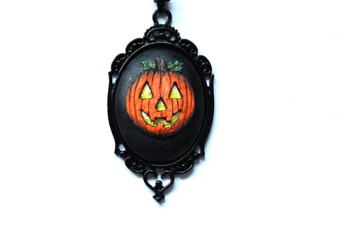 Jack O' Lantern Cameo Metal Necklace