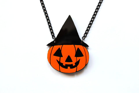 Jack O' Lantern Witch Necklace