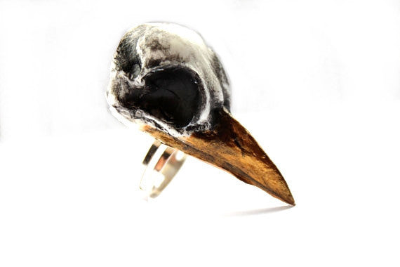 Taxidermy Magpie Hand Painted Bird Skull Large Ring