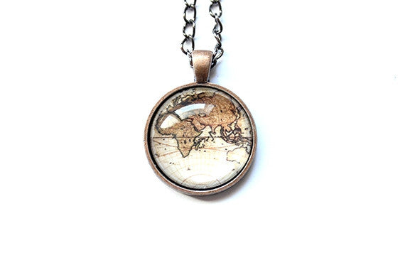 Old World Map Necklace