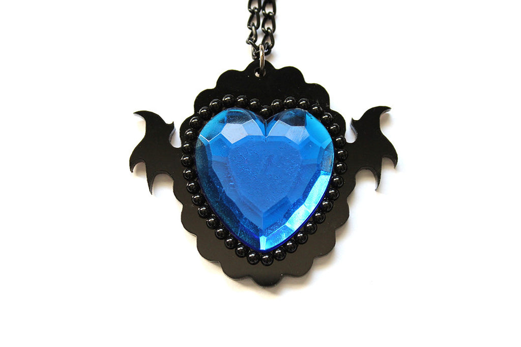 Blue Monster Heart Necklace