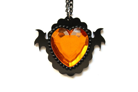 Amber Monster Heart Necklace