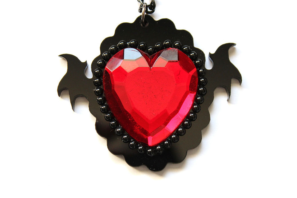 Red Monster Heart Necklace