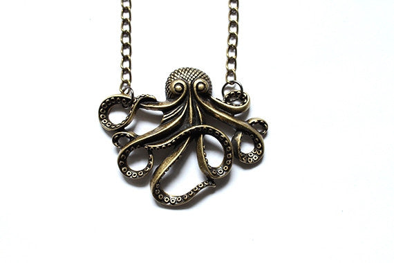 Octopus Necklace Extra Large - Antique Gold