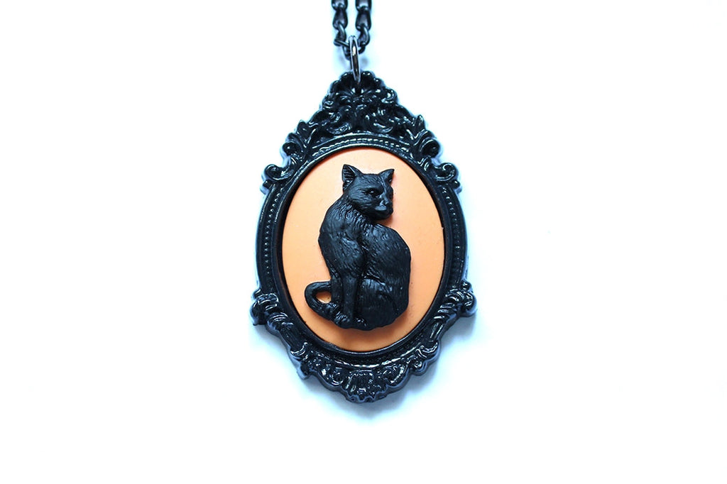 Halloween Cat Cameo Necklace