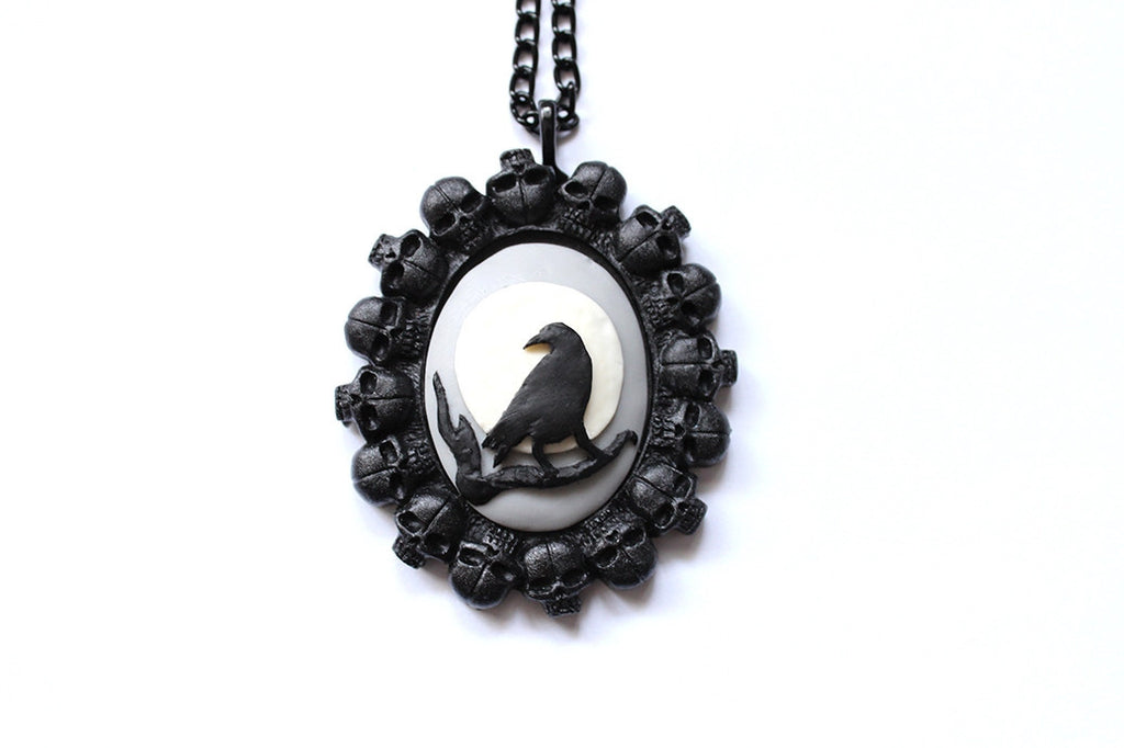 Raven in the Night 'Bed of Skulls' Cameo Necklace