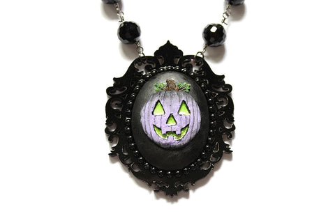 Limited Edition - Purple Jack O' Lantern Dark Fairytale Necklace