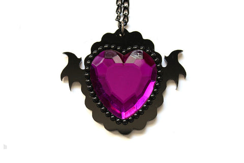 Purple Monster Heart Necklace