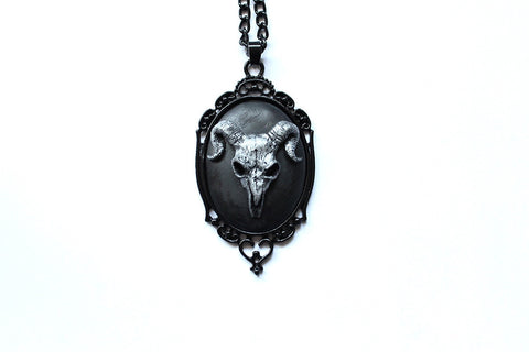 Ram Skull Cameo Necklace