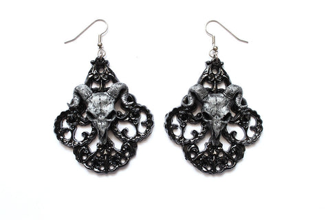Ram Skull Chandelier Earrings