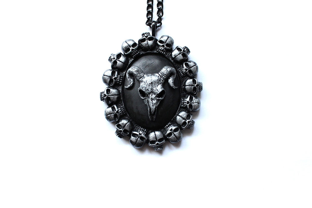 Ram Skull Cameo 'Bed of Skulls' Necklace