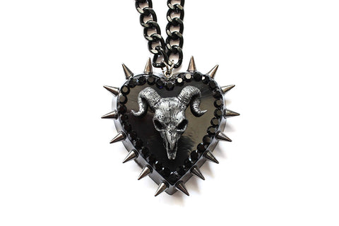 Ram Skull Heart Spike Swarovski Necklace
