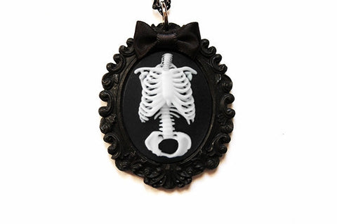 Anatomical Skeleton Bow Cameo Necklace - More Colors Available