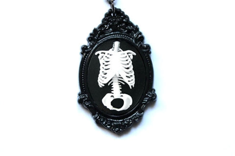 Anatomical Skeleton Torso Cameo Necklace - More Colors Available