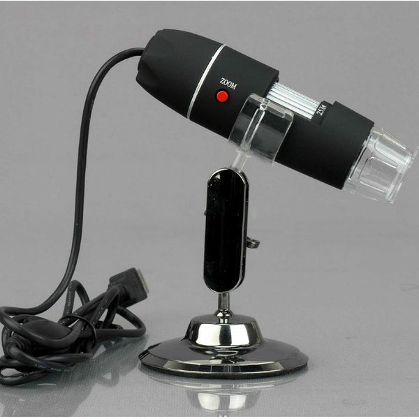 AmScope 25X-200X  Digital 2MP LED USB Microscope + Table Stand + Software