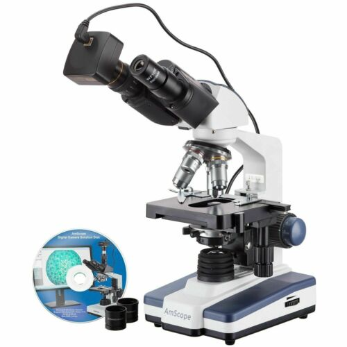 AmScope 40X-2500X LED Lab Binocular Compound Microscope with 14MP Camera