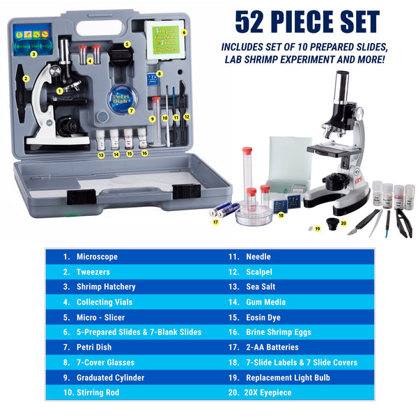 120X-1200X-Kids-Beginner-Microscope-STEM-Kit-Items