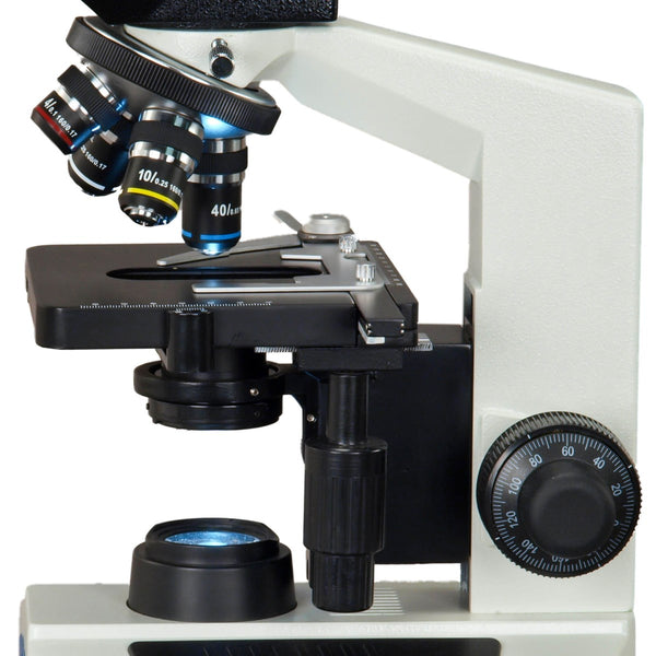 40X-2500X TRINOCULAR COMPOUND LED MICROSCOPE WITH 10MP USB CAMERA