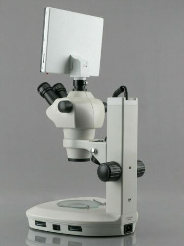 8X-50X LED Stereo Zoom Parfocal 5MP TouchPad Microscope on Track Stand