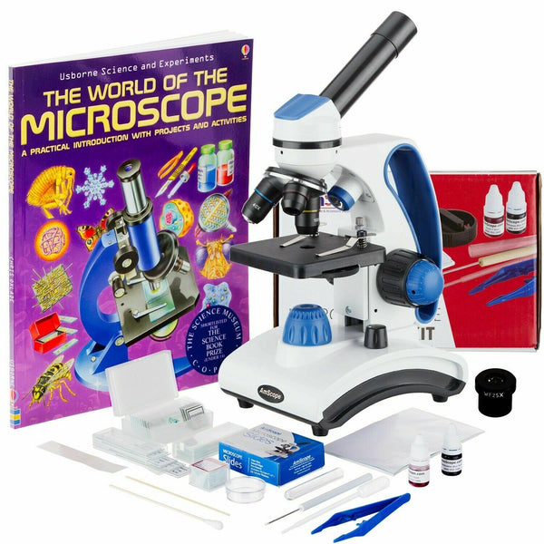 AmScope 40-1000X Student Microscope Kit 2 Lights Glass Lens +Metal Frame +Slides