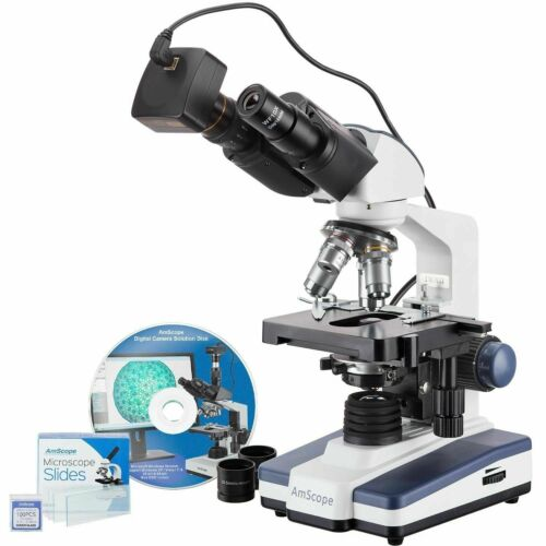AmScope 40X-2500X LED Binocular Compound Microscope 14MP Camera + 50pc Slides