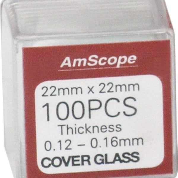 Microscope Slides Cover Slips 22mm x 22mm, Pack of 100