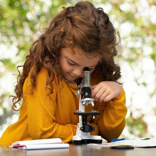 120X-1200X Compound LED Microscope +52pc Kids Portable Science Kit-White