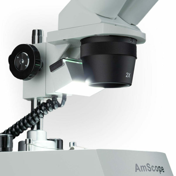 AmScope 20X-80X Multi-Lens Stereo Microscope Pillar Stand, Top / Bottom Lighting