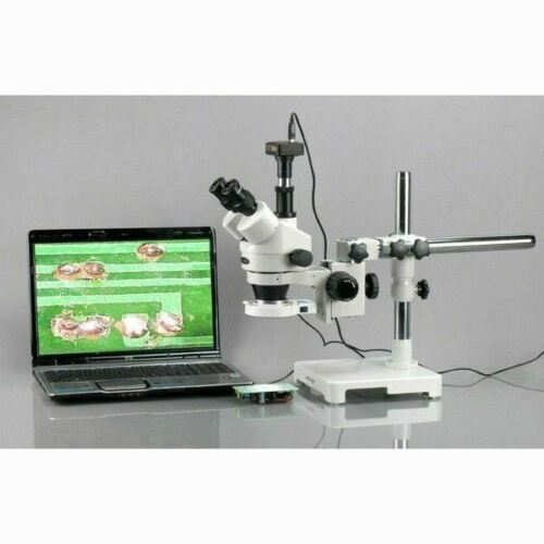 AmScope 3.5X-90X Boom Stand Trinocular Zoom Stereo Microscope + 54 LED Light