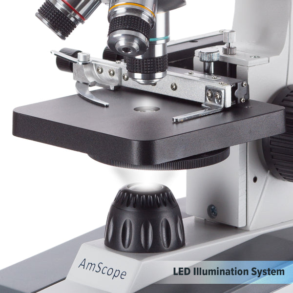 40X-1000X Cordless LED Student Microscope with Metal Frame, Glass Lenses and Coarse & Fine Focus + 25 Prepared Slides