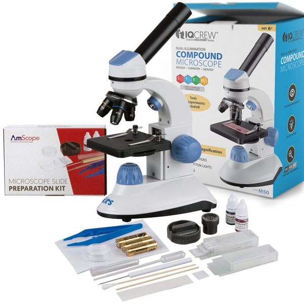40X-1000X Dual Illumination Microscope for Kids (Blue) with Slide Preparation Kit